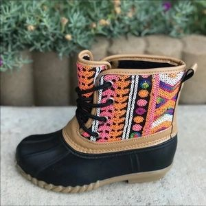 HP Girls Boho Sequin multicolor lace up Duck boots